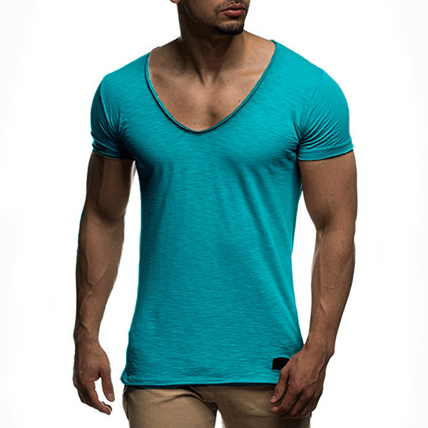 Summer Mens Thin Solid Color V-neck Short Sleeve Tops Slim Fit Casual Breathable Soft Modal T-shirts