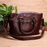 Women Genuine Leather Vintage Oil Wax Handbag Solid Leisure Crossbody Bag