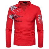 Men's Fashion Henry Collar Long Sleeved T-shirt Casual Printing Tops Tees