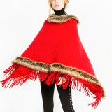 Women Tassel Solid Fur Poncho With Hood Warm Scarves Cloak Shawl Fashion Fur Hooded Shawl
