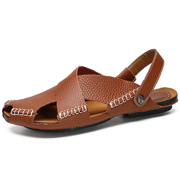 645adba97 Men Soft Genuine Leather Beach Slippers Sandals Slip On Shoes ...