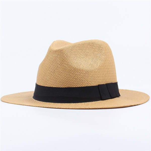 bef22d7a2eb6fd Men Women Panama Straw Hat Classic Western Beach Sun Wide Brim Bucket Caps