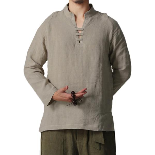 Fashion Men's Chinese Style V-Neck Cotton Linen T-shirts Casual Solid Color Long Sleeve Tee Tops
