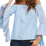 Plus Size Women Casual Off Shoulder Stripe Flared Sleeve Loose Blouse