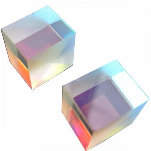 2Pcs 2.2x2.2x2.2cm Optical Glass Educational Prism Cross Dichroic X-Cube Glass Prism Splitter Prism