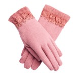 LYZA Women Warm Elegant Wool Gloves Casual Windproof Full Fingers Gloves