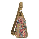 Brenice Canvas Retro National Floral Women Crossbody Bag Chest Sling Bag