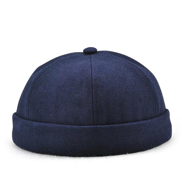 Men Vintage Solid Skullcap Sailor Cap Warm Rolled Cuff Bucket Cap ... 820a44e6f5a