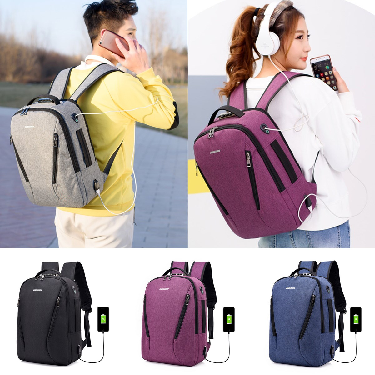 Mens Womens Laptop Backpack With USB Charging Port And Lock Notebook School Bag