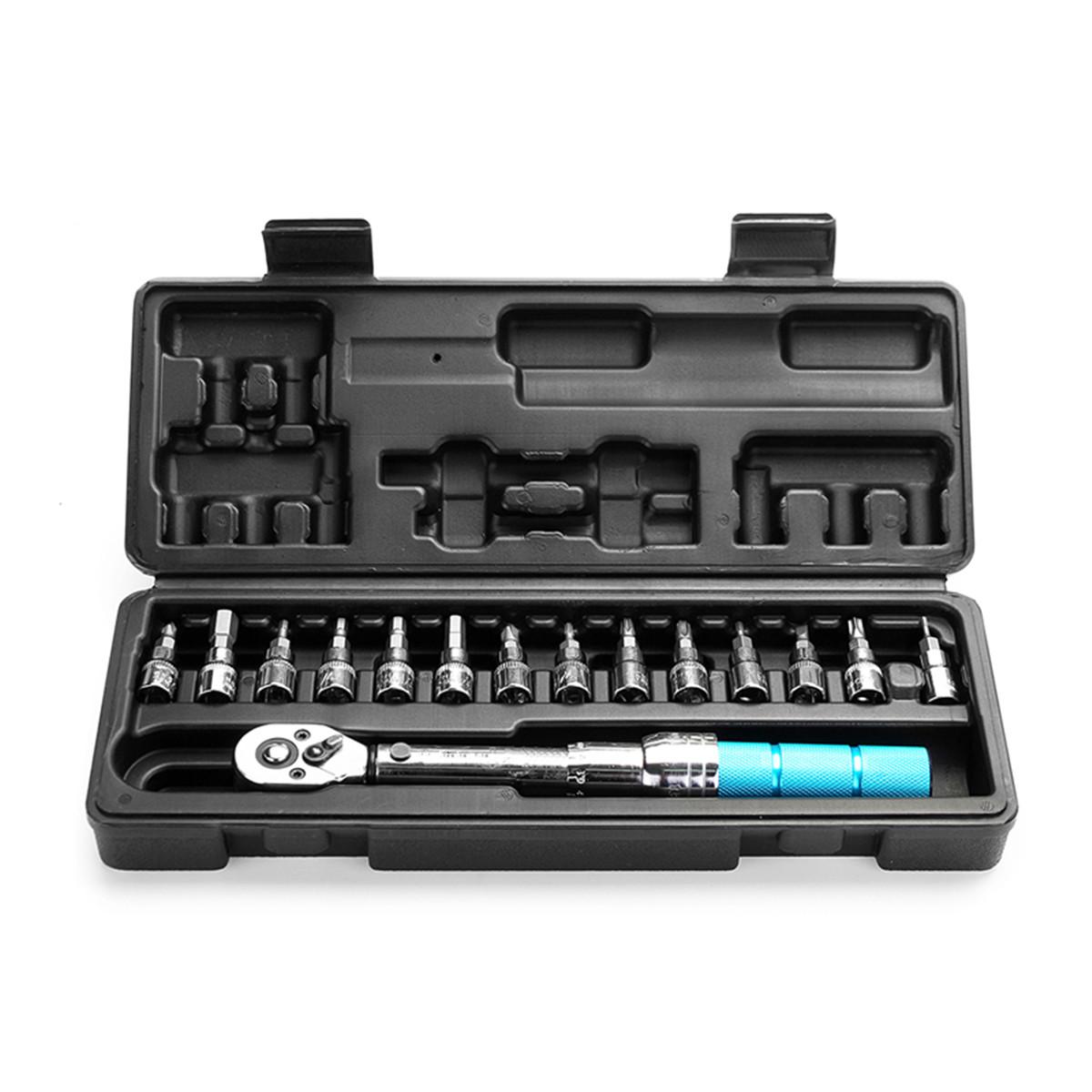 15pcs Torque Wrench Allen Key Tool Screwdriver Drive Socket Bit Set