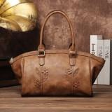 Brenice Women Vintage Floral Tote Handbag Business Shoulder Crossbody Shopping Bag