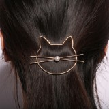 Trendy 1Pcs Girls Women Hair Accessories Gifts Cute Hollow Kitty Cat Hair Clips