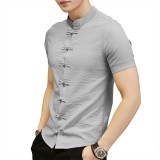 Chinese Knot Buckle Vintage Chic Mandarin Collar Short Sleeve Pure Color Shirts for Men