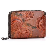 Brenice Women Vintage Casual Floral Genuine Leather Card Holder Coin Purse Wallet