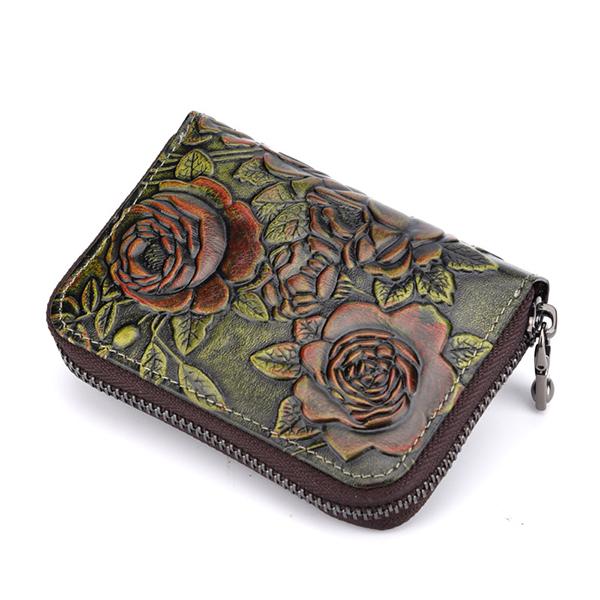 Genuine Leather Card Organ Card Holder Zipper Multi-card Bit Purse Wallet