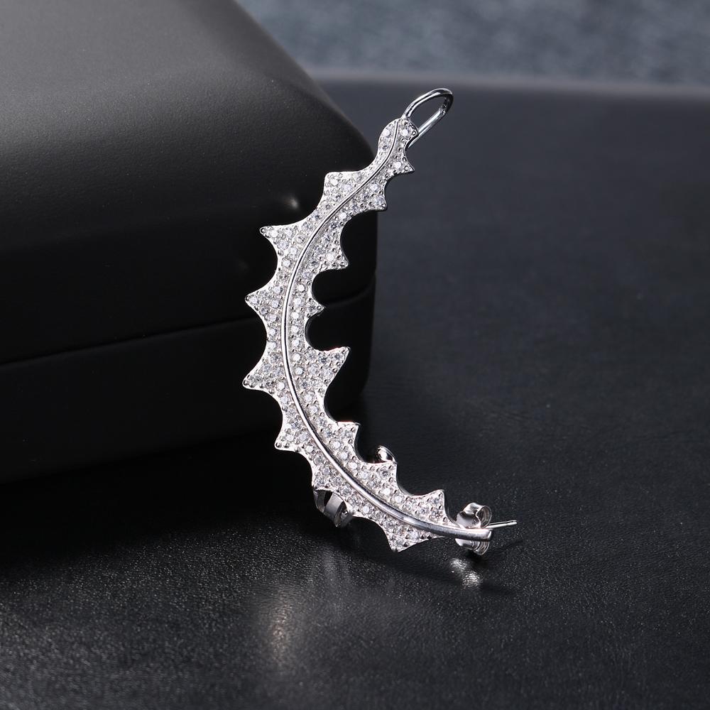 Luxury 925 Sterling Silver Earrings Leaf Full Zirconia Ear Cuff Piercing Earrings for Women
