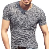 Summer Mens Cotton Breathable Solid Color Tops Fashion Short Sleeve Slim Fit Casual T-shirts