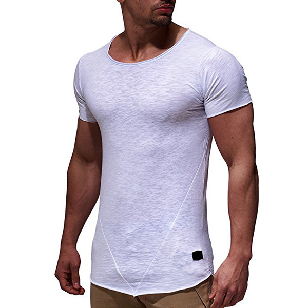 Summer Mens Breathable Solid Color Short Sleeve Tops Slim Fit Sports Casual T-Shirts
