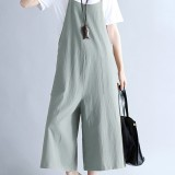 Casual Women Loose Solid Strap Pockets Overall Jumpsuit