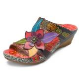 SOCOFY Bohemian Genuine Leather Hook Loop Handmade Flowers Sandals