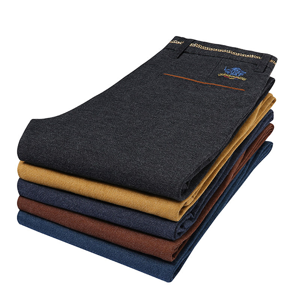 Autumn Winter Men's Casual Sanding Stretch Straight Slim Pants Business Casual Dress Suit Pants