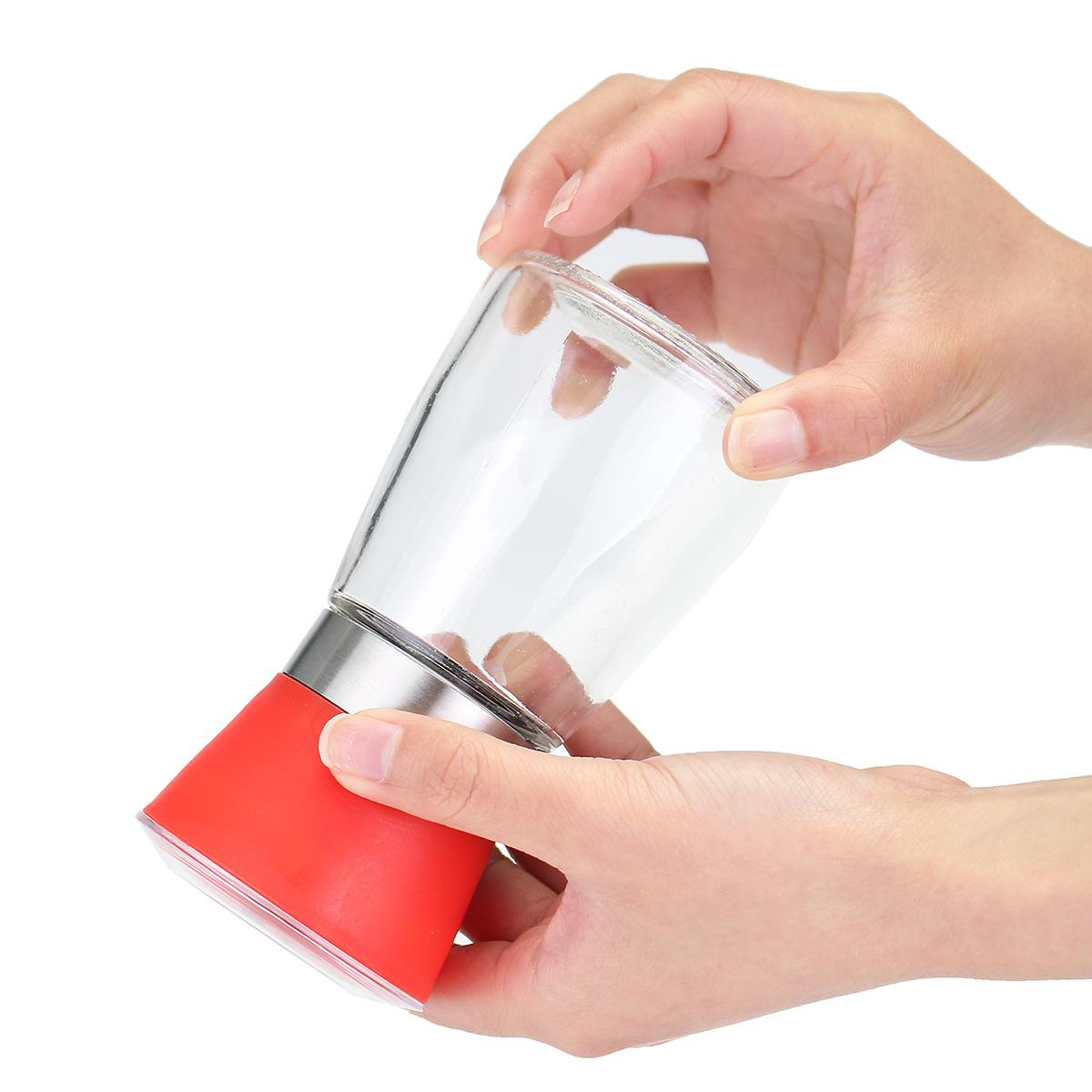 6.513cm Stainless Steel Manual Brushed Salt Mill Pepper Grinder Set Glass Bottles