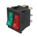 6 Pins Double SPST On/Off Rocker Boat Switch Red Green Light AC 250V/15A 125V/20A Switch