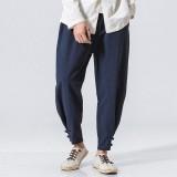 Men's Casual Baggy Cotton Linen Harem Pants Solid Color Loose Frog Button Trousers