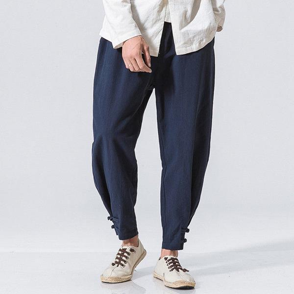 562dbd65482 Men s Casual Baggy Cotton Linen Harem Pants Solid Color Loose Frog Button  Trousers