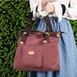 KVKY Canvas Tote Handbags Vintage Front Pockets Shoulder Crossbody Bags