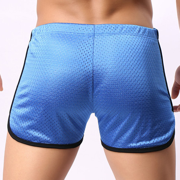 Mens Honey Comb Mesh Breathable Splicing Mini Shorts Quik Drying Workout Shorts with Drawstring