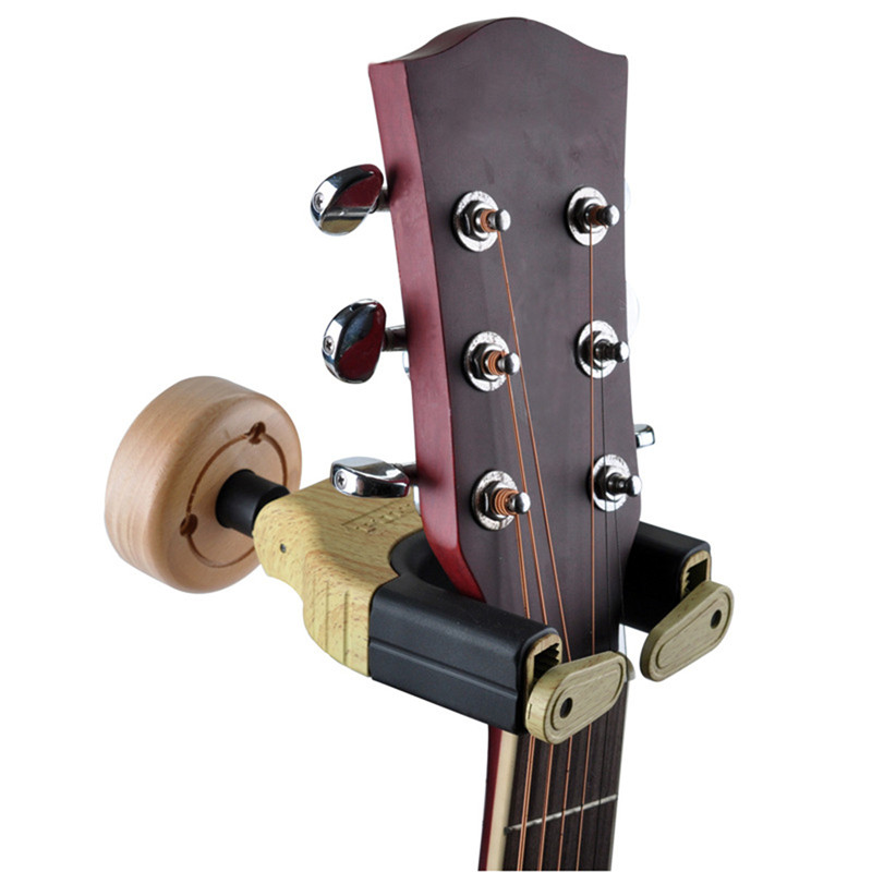wall mount hooks stand wooden guitar hanger holder two color. Black Bedroom Furniture Sets. Home Design Ideas