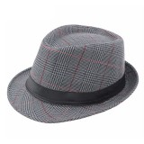Mens British Style Classic Gentleman Panama Fedora Hat Casual Wide Brim Sun Jazz Hat