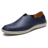 Men Comfy Casual Hand Stitching Soft Genuine Leather Flat Loafers