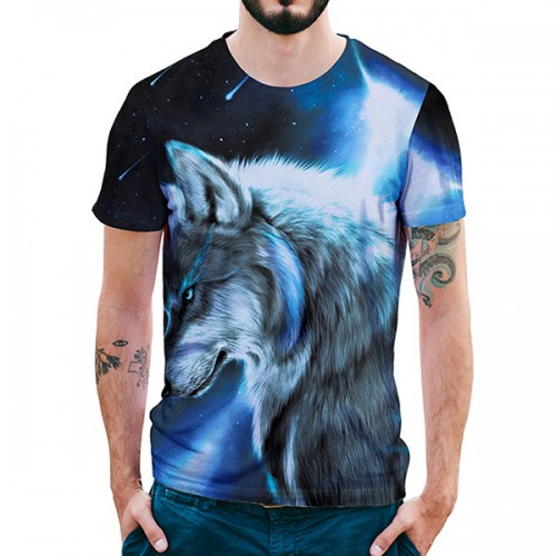 Summer Cool Creative Starry Wolf 3D Printed T-Shirts Mens O-neck Short Sleeve Casual Tops Tees