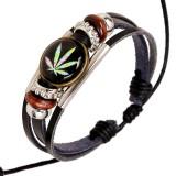Punk Multilayer Unisex Bracelets Wooden Beads Maple Leaf Bracelet for Men