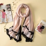 Women Flowers Elegant Imitated Silk Fabric Black Pink Bow Pattern Shawl Sunscreen Beach Scarf