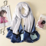 Women Flowers Elegant Imitated Silk Fabric Blue White Bow Pattern Shawl Sunscreen Beach Scarf