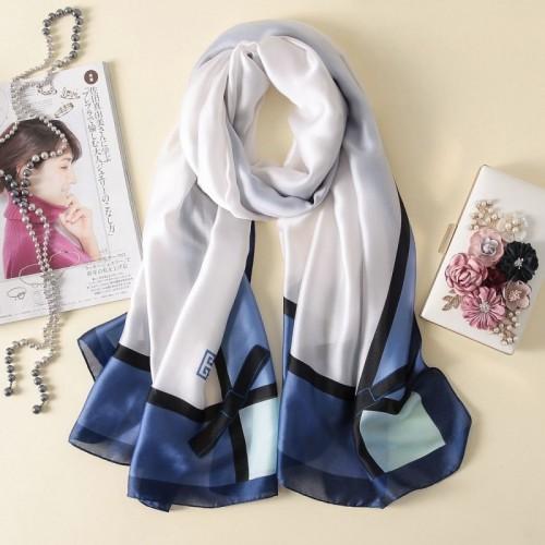 Women Flowers Elegant Imitated Silk Fabric Blue White Bow Pattern Shawl Sunscreen Beach Scarf
