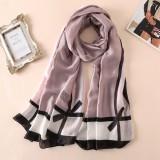 Women Flowers Elegant Imitated Silk Fabric Khaki Bow Pattern Shawl Sunscreen Beach Scarf
