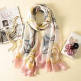 Women Flowers Elegant Imitated Silk Fabric Sailboat Pink Pattern Shawl Sunscreen Beach Scarf