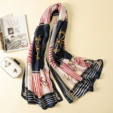Women Flowers Elegant Imitated Silk Fabric Ship Spear Navy Blue Pattern Shawl Sunscreen Beach Scarf