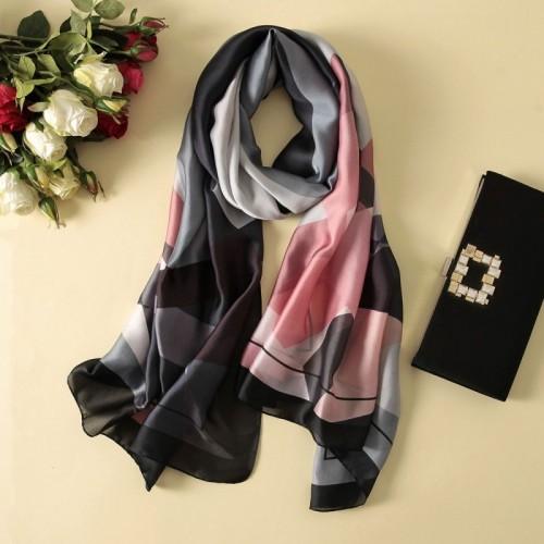 Women Flowers Elegant Imitated Silk Fabric Black Pink Striped Pattern Shawl Sunscreen Beach Scarf