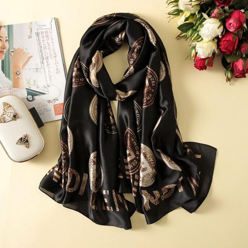 Women Flowers Elegant Imitated Silk Fabric Black Copper Pattern Shawl Sunscreen Beach Scarf