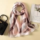 Women Flowers Elegant Imitated Silk Fabric Pink Khaki Vertical Bar Pattern Shawl Sunscreen Beach Scarf