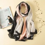 Women Flowers Elegant Imitated Silk Fabric Pattern Shawl Sunscreen Beach Scarf