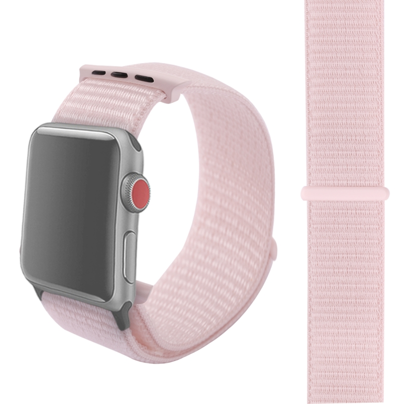 For Apple Watch Series 3 & 2 & 1 38mm Simple Fashion Nylon Watch Strap with  Magic Stick (Pearl Pink)