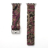 For Apple Watch Series 3 & 2 & 1 38mm Retro Silk Canvas + Genuine Leather Wrist Watch Band (Black + Purple)
