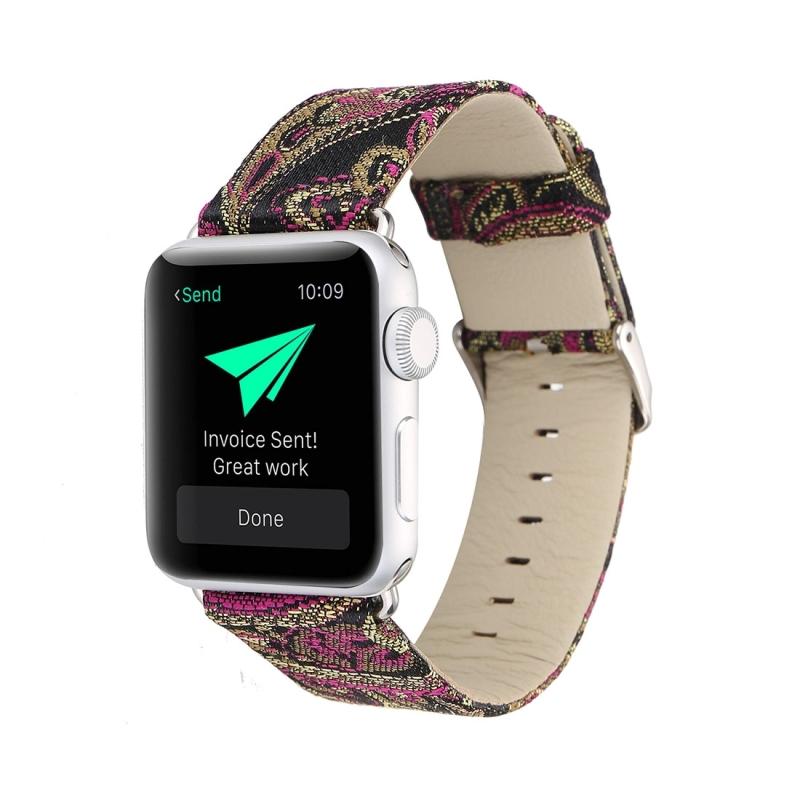 For Apple Watch Series 3 & 2 & 1 38mm Retro Silk Canvas + Genuine Leather Wrist Watch Band (Black + Purple)