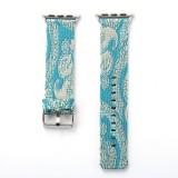 For Apple Watch Series 3 & 2 & 1 38mm Retro Silk Canvas + Genuine Leather Wrist Watch Band (Azure)